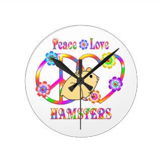 Peace Love Hamsters Round Clock