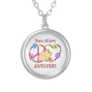 Peace Love Hamsters Silver Plated Necklace