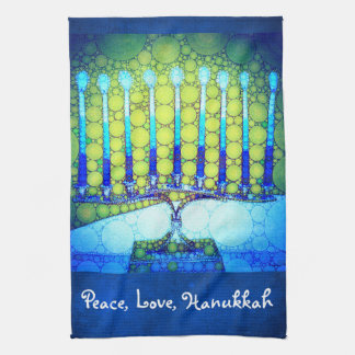 """Peace, Love, Hanukkah"" Blue & Green Menorah Photo Kitchen Towel"