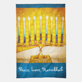 """Peace, Love, Hanukkah"" Yellow Gold Menorah Photo Kitchen Towel"