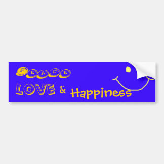 Peace, Love, &, Happiness Bumber Sticker
