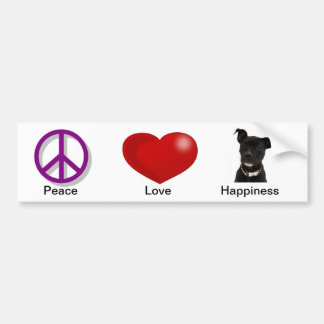 Peace Love Happiness Bumper Sticker