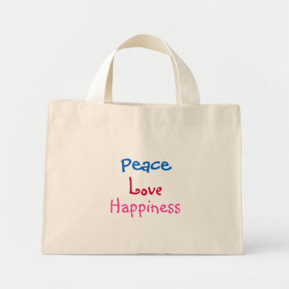Peace, Love, Happiness-Floral-Bag Mini Tote Bag