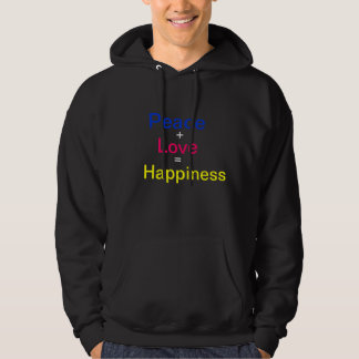 Peace, +, Love, =, Happiness Hooded Sweatshirts