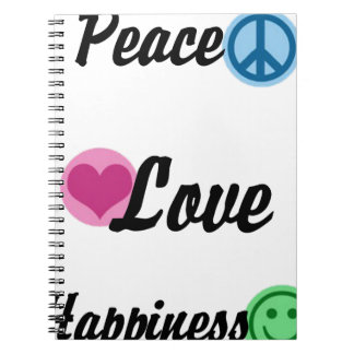 Peace Love Happiness Notebooks