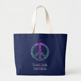 Peace Love Happiness Peace Sign Tote Bag