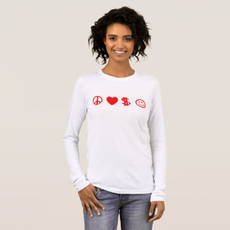 PEACE LOVE HAPPY MONEY women's long sleeve t-shirt