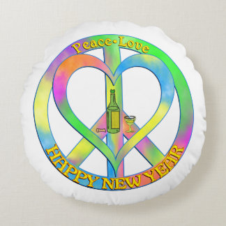 Peace Love Happy New Year Round Pillow