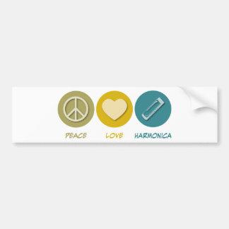 Peace Love Harmonica Bumper Sticker