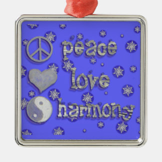 Peace, Love, Harmony Metal Ornament