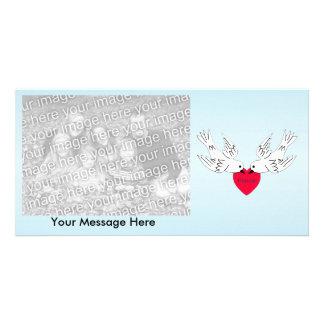 Peace Love Heart Doves Photo Card