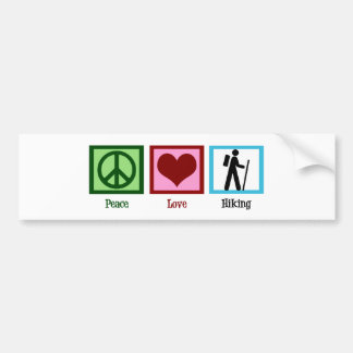 Peace Love Hiking Bumper Sticker