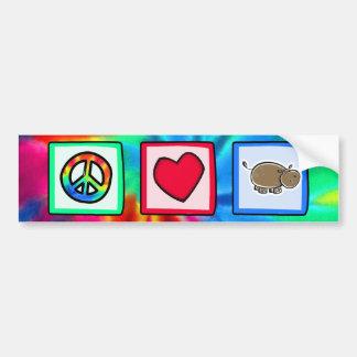 Peace, Love, Hippos Bumper Sticker