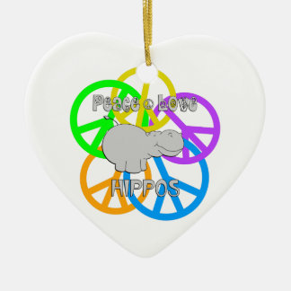 Peace Love Hippos Ceramic Heart Ornament