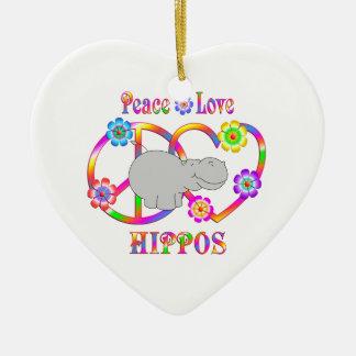 Peace Love Hippos Ceramic Ornament