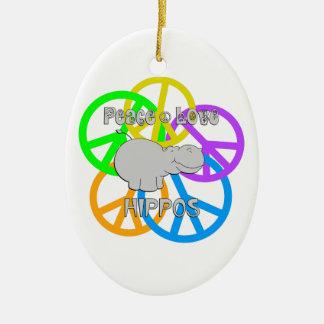 Peace Love Hippos Ceramic Oval Ornament