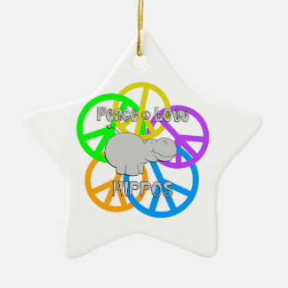 Peace Love Hippos Ceramic Star Ornament