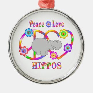 Peace Love Hippos Metal Ornament