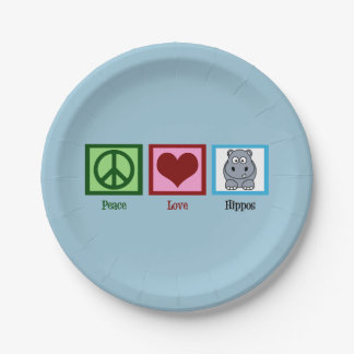Peace Love Hippos Paper Plate