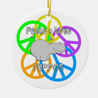 Peace Love Hippos Round Ceramic Ornament