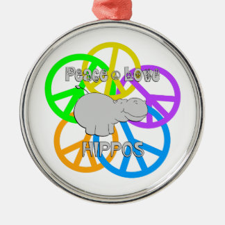 Peace Love Hippos Silver-Colored Round Ornament