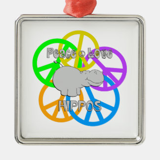 Peace Love Hippos Silver-Colored Square Ornament