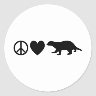Peace, Love & Honey Badgers Round Sticker