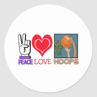 PEACE LOVE HOOPS (basketball) Classic Round Sticker