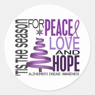 Peace Love Hope Christmas Alzheimer's Disease Classic Round Sticker
