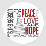 Peace Love Hope Christmas Holiday Lung Cancer Round Sticker