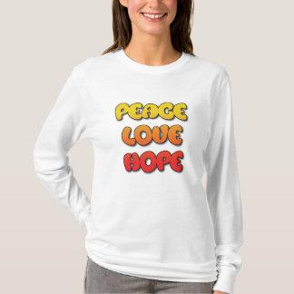 Peace, Love, Hope Womens Shirt Yellow & Orange