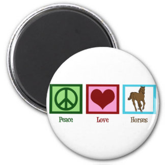 Peace Love Horses Magnet
