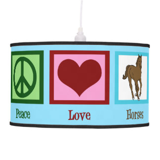 Peace Love Horses Pendant Lamp