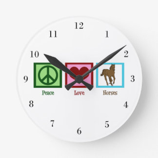 Peace Love Horses Round Clock