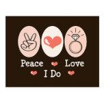 Peace Love I Do Wedding Postcard