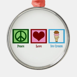 Peace Love Ice Cream Metal Ornament