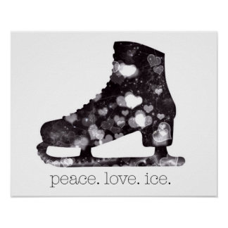 Peace Love Ice Figure Skating Art by S Szczucki Poster