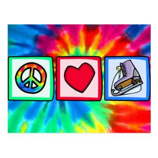Peace, Love, Ice Skate Postcard