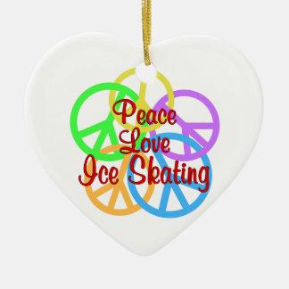 Peace Love Ice Skating Ceramic Heart Ornament
