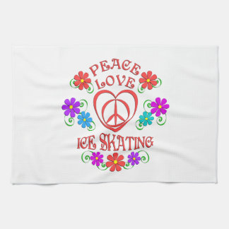 Peace Love Ice Skating Kitchen Towel