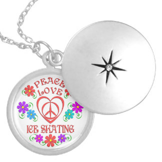 Peace Love Ice Skating Locket Necklace