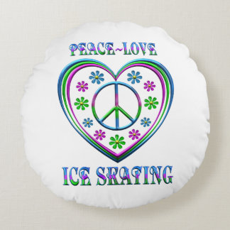 Peace Love Ice Skating Round Pillow