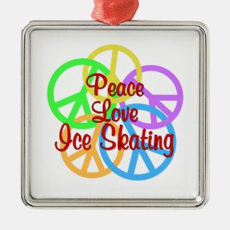 Peace Love Ice Skating Silver-Colored Square Ornament
