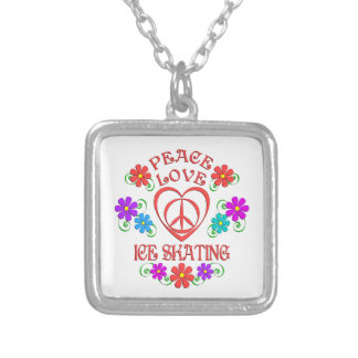 Peace Love Ice Skating Silver Plated Necklace