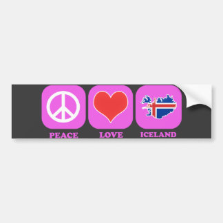 Peace Love Iceland Bumper Sticker