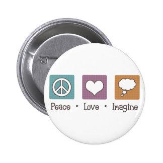 Peace Love Imagine 2 Inch Round Button