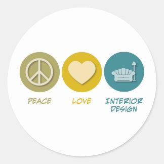 Peace Love Interior Design Classic Round Sticker