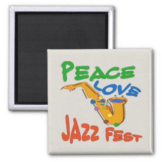 Peace Love Jazz Fest Sax Magnet