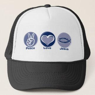 Peace Love Jesus Trucker Hat