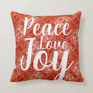 Peace Love Joy Angel Pattern Orange Red White Throw Pillow